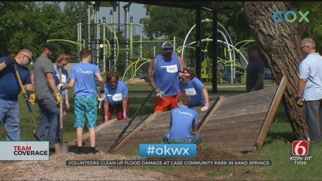 Sand Springs Volunteers Work To Clean Up Flood Damage At Case Park