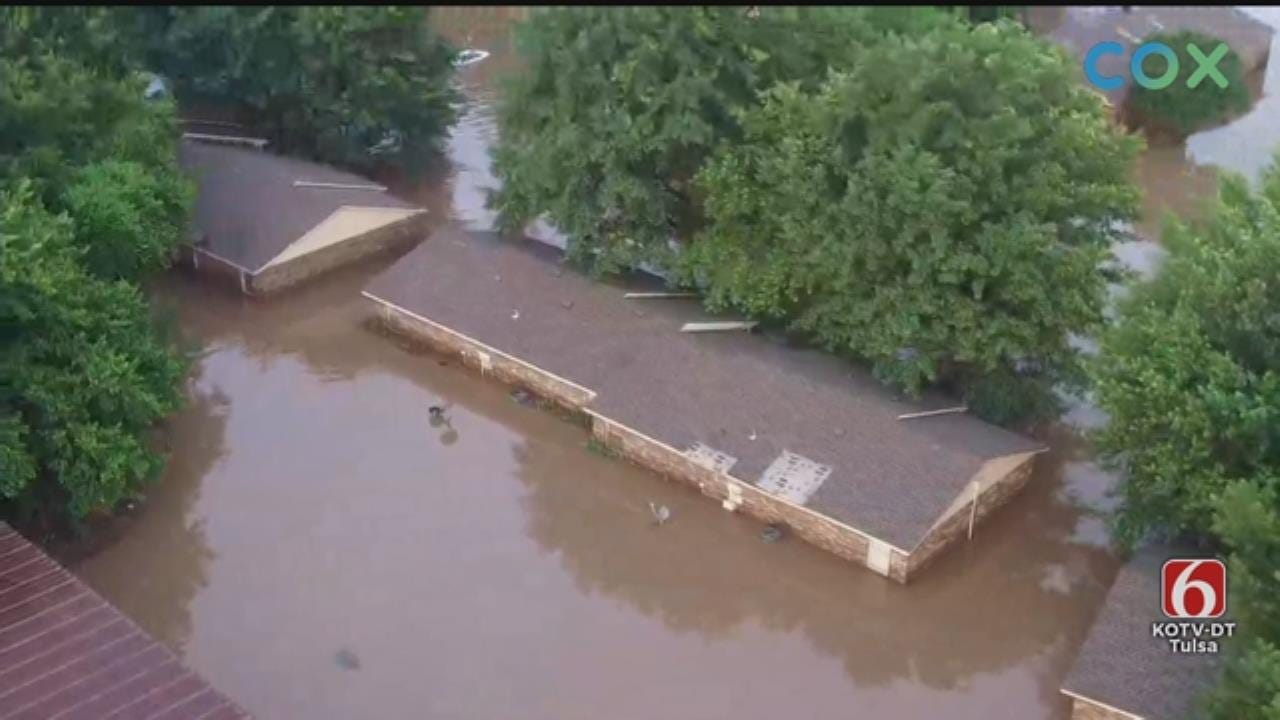 WATCH: News On 6 Storm Tracker Darren Stephens Flies Drone 6 Over Flooding In Muskogee County