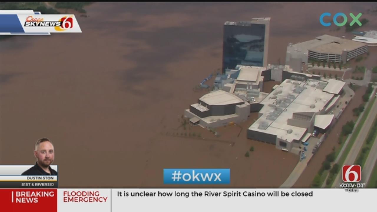 WATCH: Flooding Keeps Tulsa's River Spirit Casino Closed