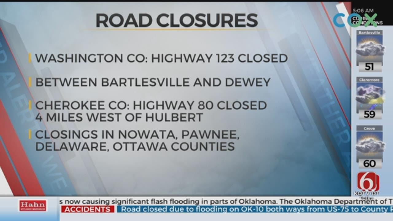 Multiple Oklahoma Roads Closed Due To Flooding