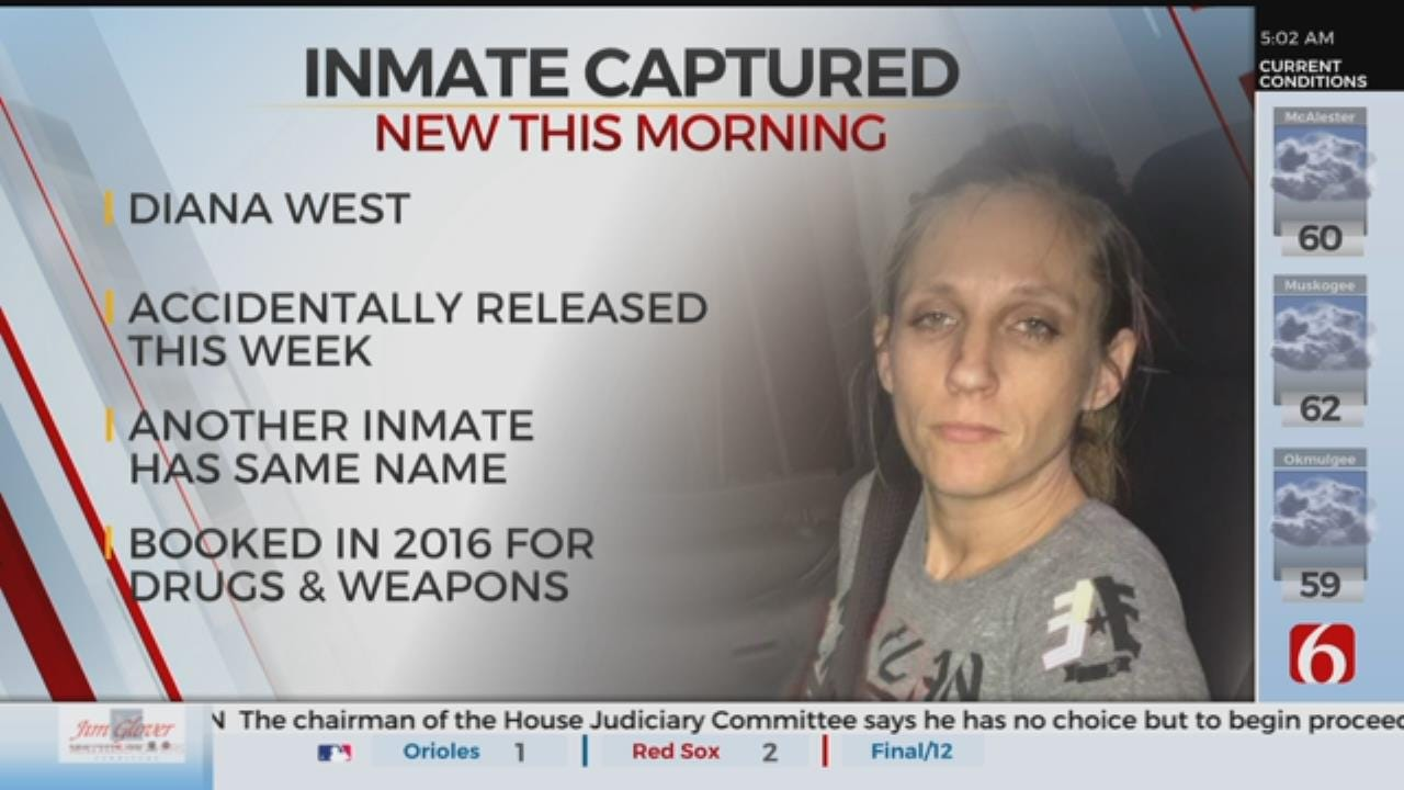 Woman Mistakenly Released From Wagoner Jail Back In Custody