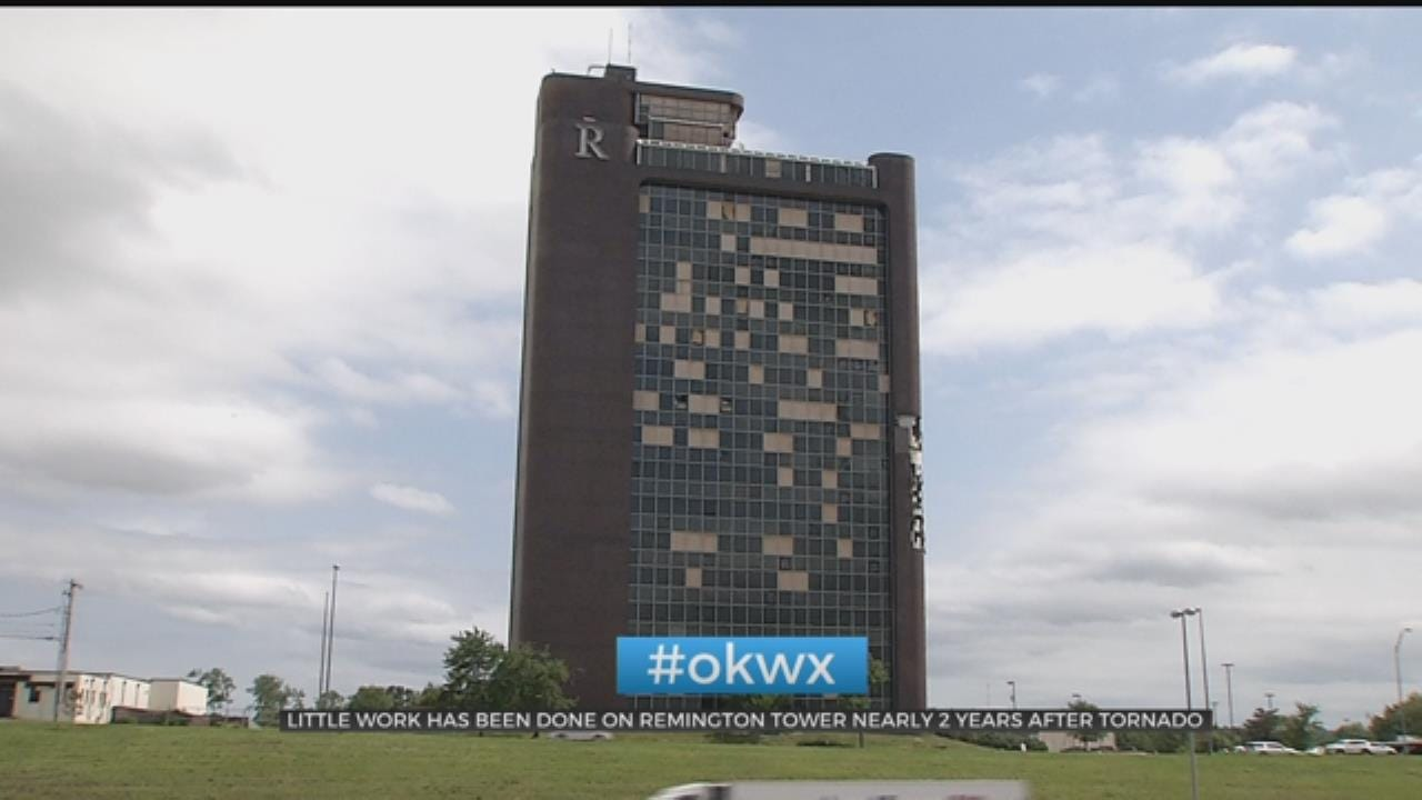 Remington Tower Vacant & Boarded Up Almost 2 Years After Tulsa Tornado