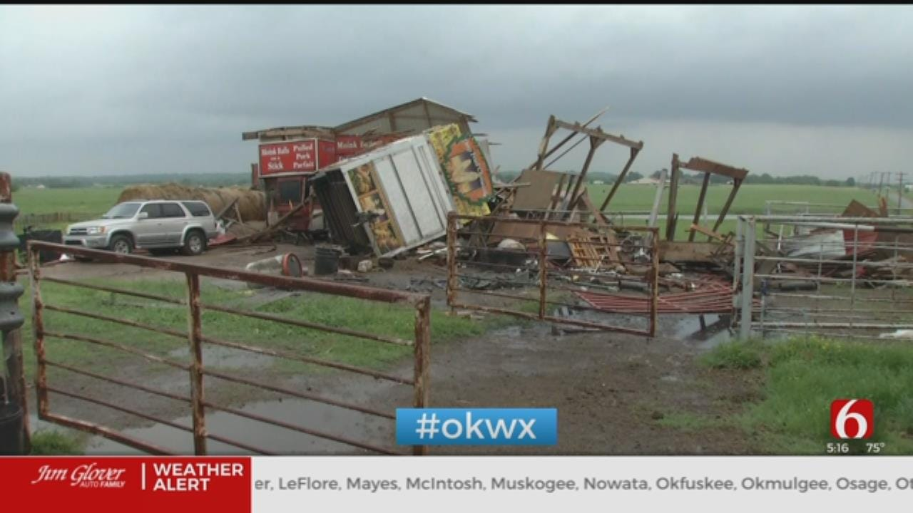 Authorities Surveying Storm Damage Near Haskell
