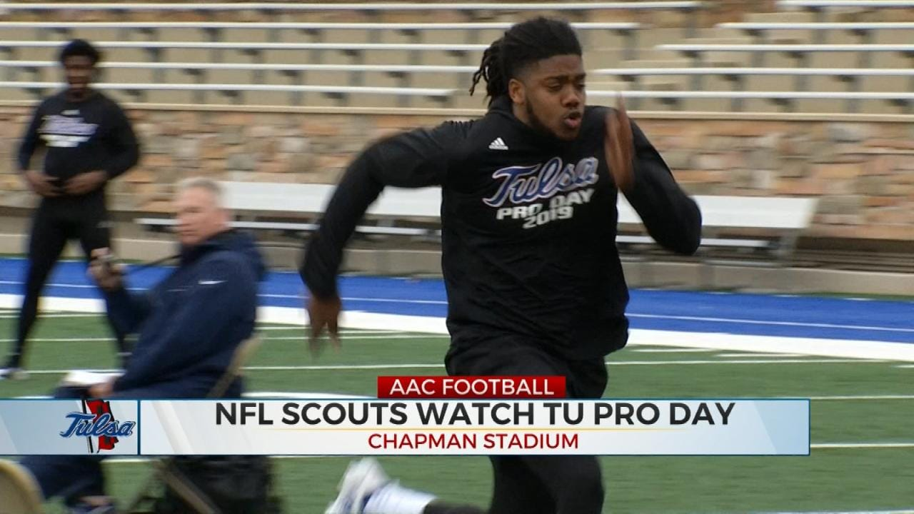TU Football Seniors Drill For NFL Scouts On Pro Day