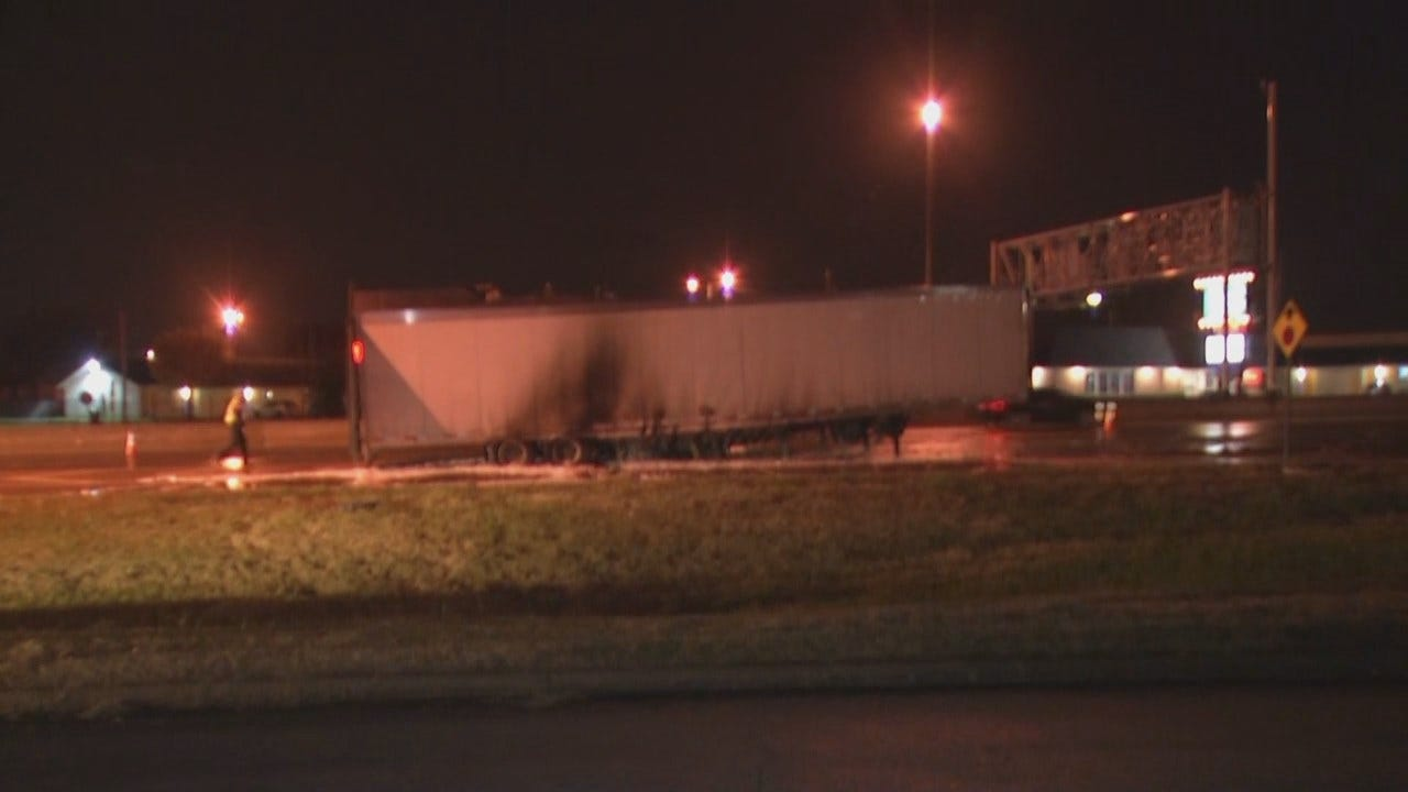 WEB EXTRA: Video From Scene Of West Tulsa Truck Trailer Fire