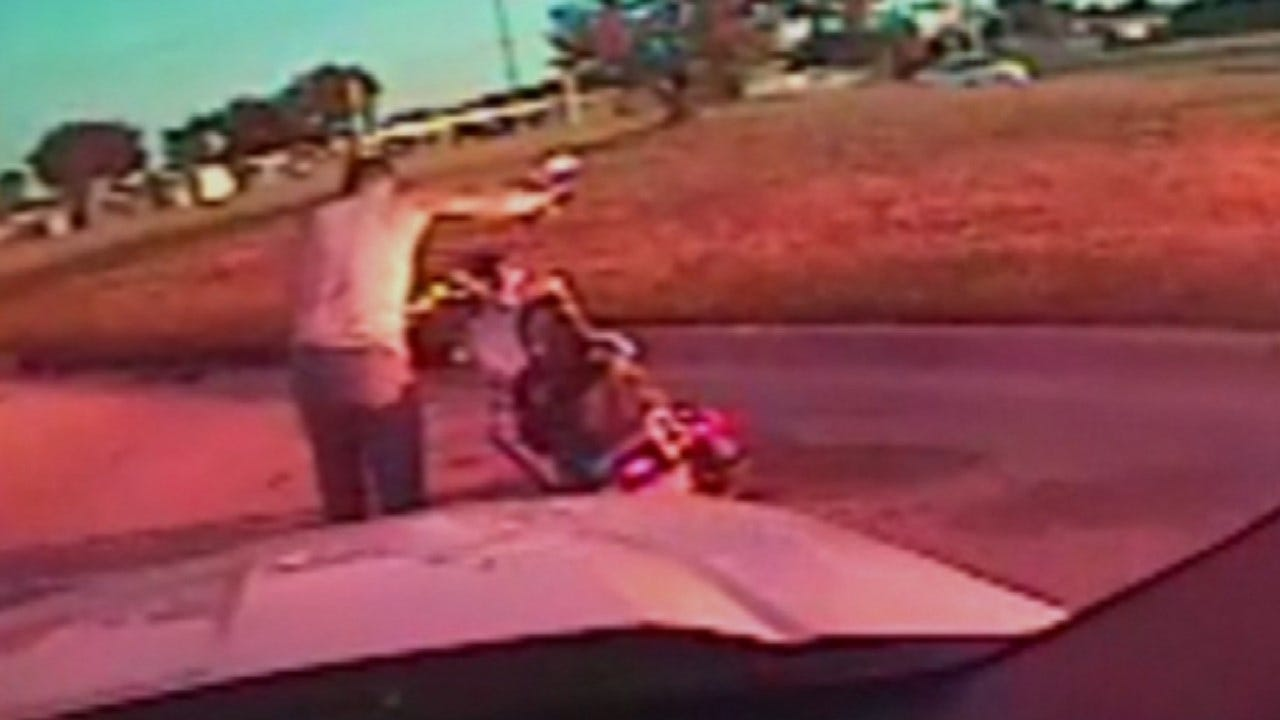 Tulsa Police Dash Cam Records End Of Chase, Suspect's Surrender