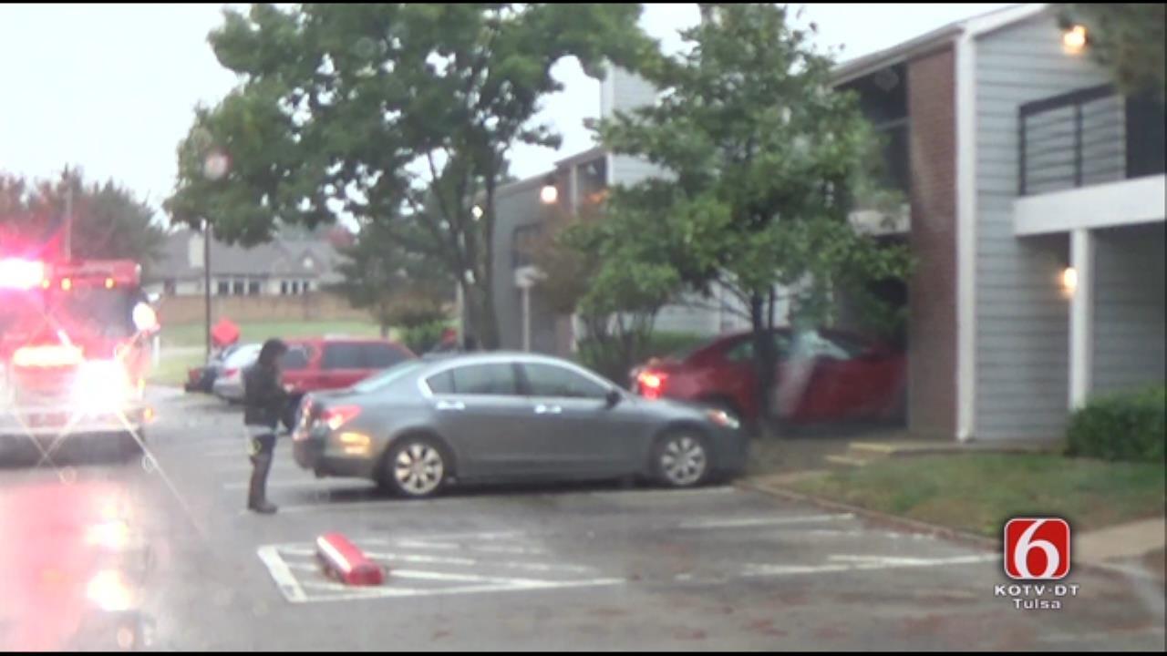 WEB EXTRA: Car Crashes In Tulsa Apartment Building
