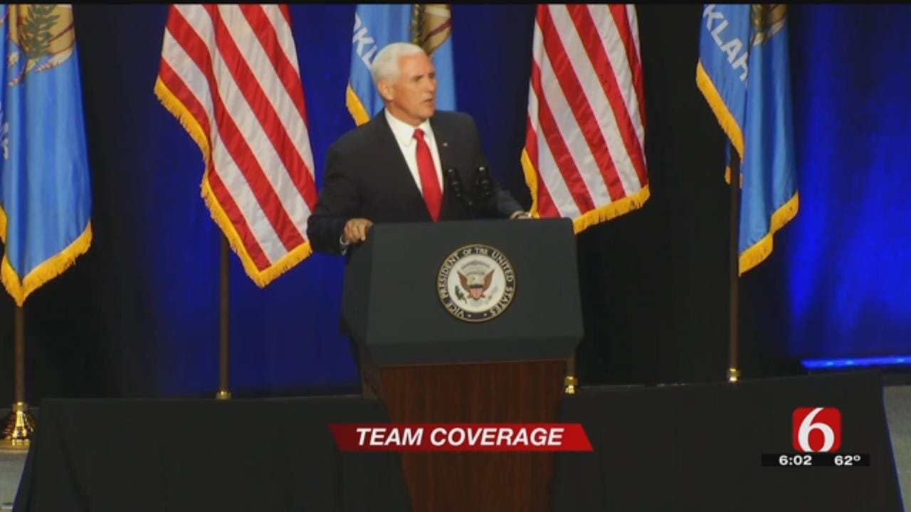 Supporters Gather To Hear Vice President Speak At Rally For Kevin Stitt