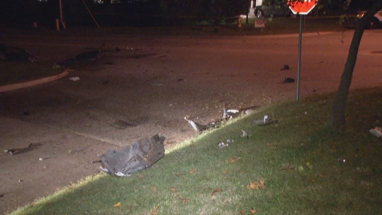 WEB EXTRA: Video From Scene Of Tulsa Crash Into Power Pole
