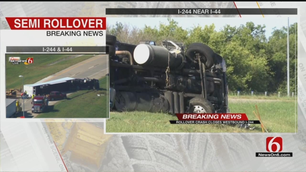 Semi Rollover Crash Closes Tulsa Highway Ramp