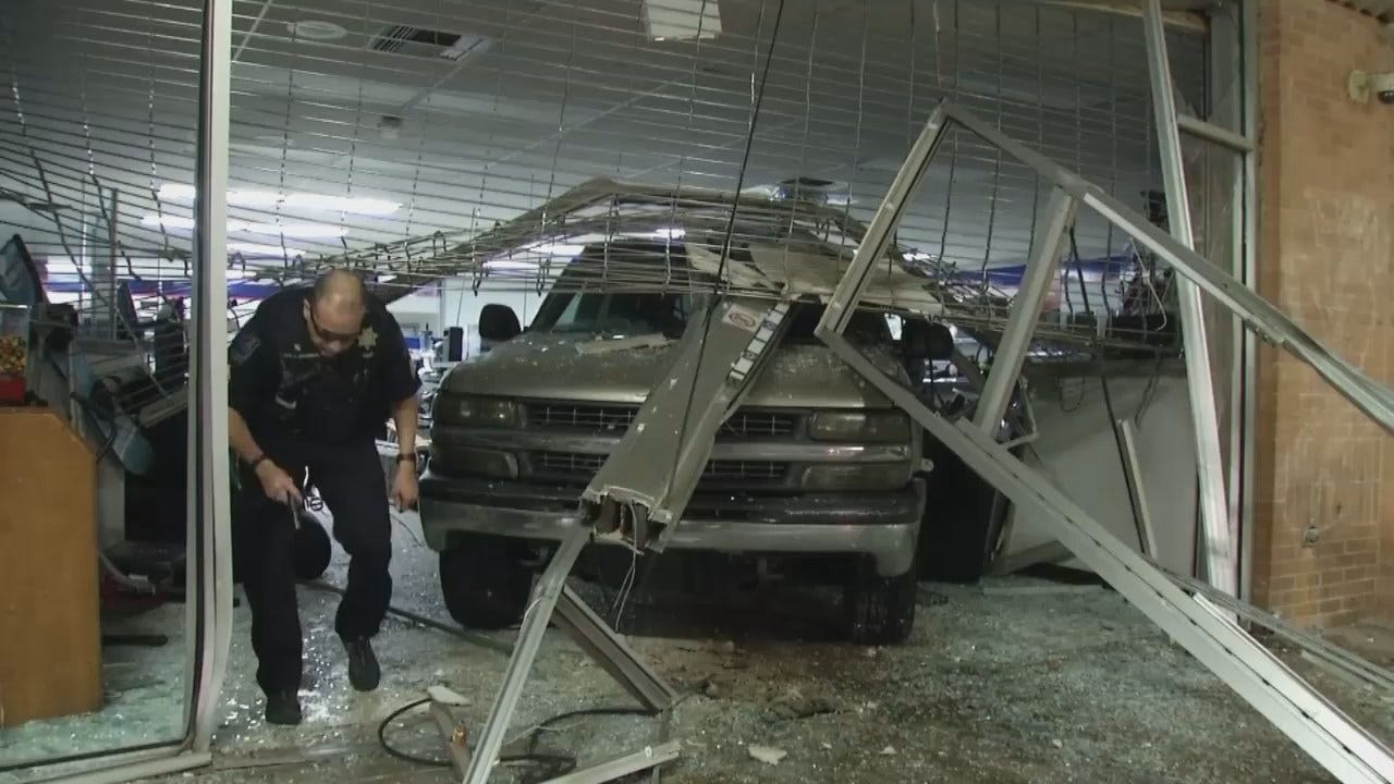 WEB EXTRA: Video From Scene Of Crash Into Tulsa Pawn Shop