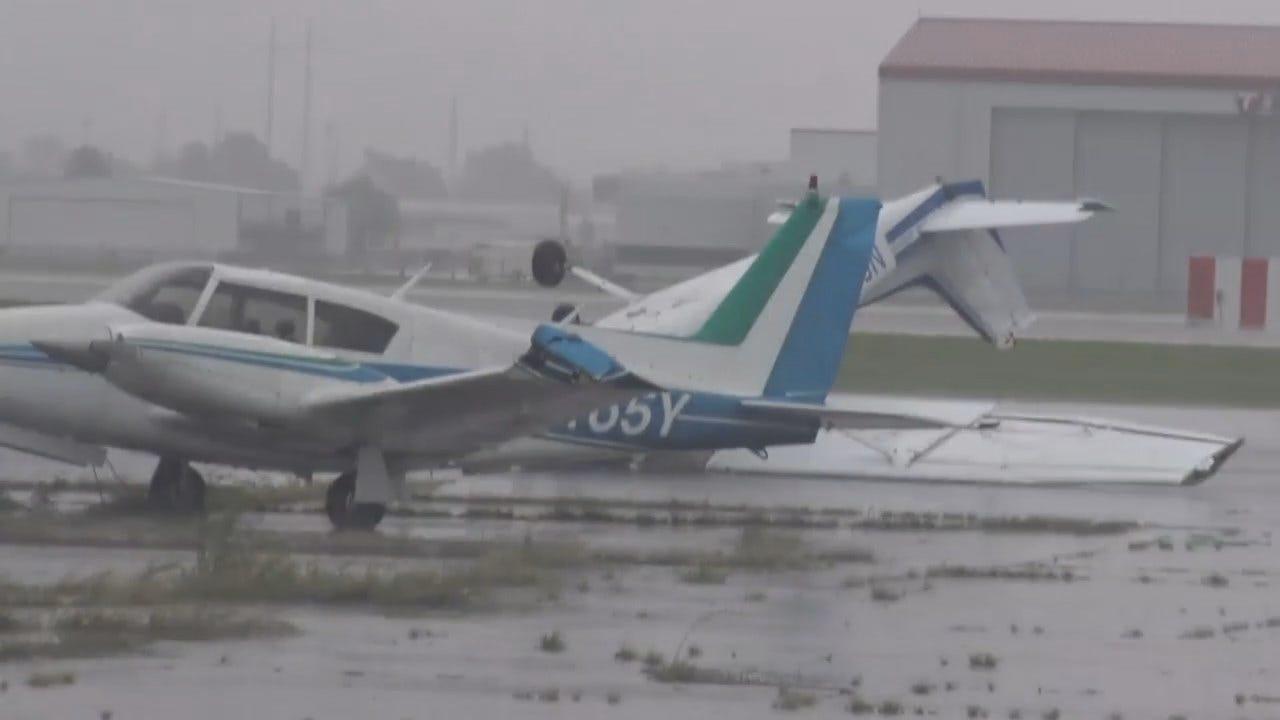 WEB EXTRA: Storms Damage Aircraft At Jenks Airport