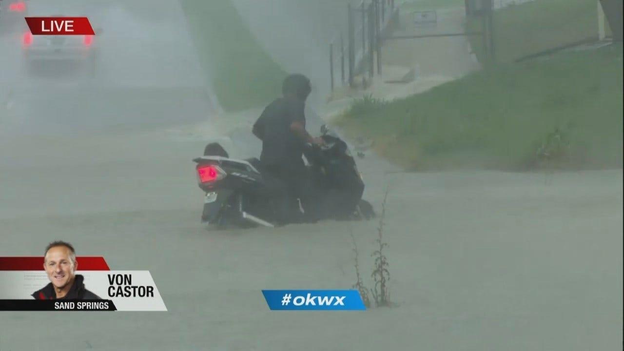 WATCH: Motorcyclist Gets Stuck In Sand Springs Flood Waters
