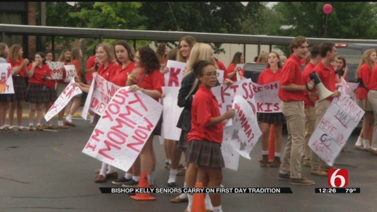 'Kiss Your Mom Goodbye' Tradition Today At Tulsa's Bishop Kelley High