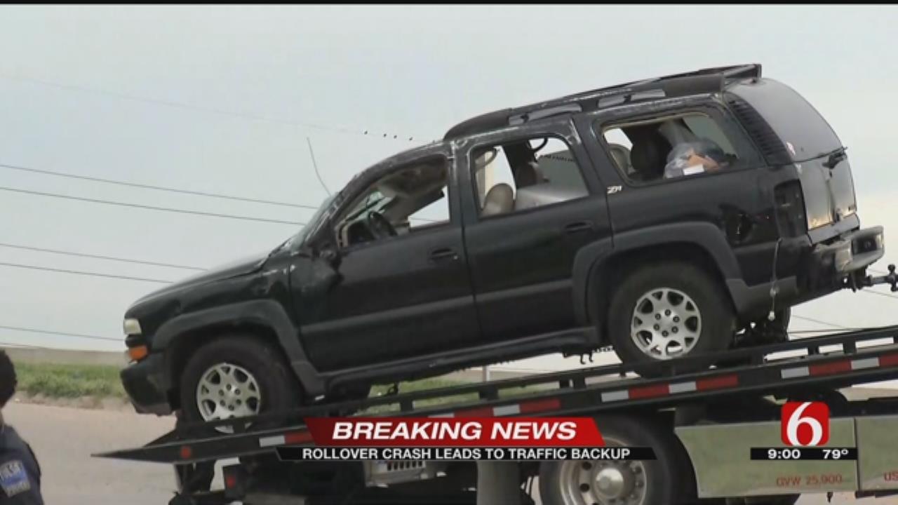 Rollover Crash Injures Woman In Tulsa
