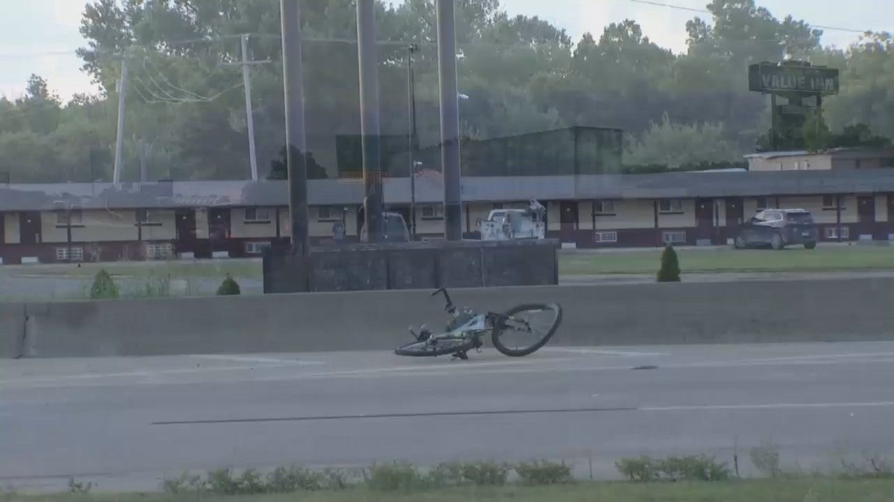 WEB EXTRA: Video From Bicycle-Pickup Crash On Tulsa's I-244