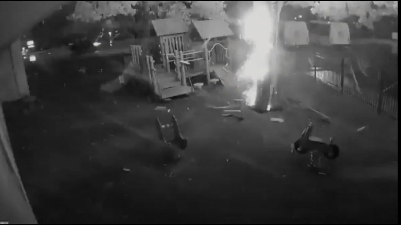 WEB EXTRA: Surveillance Video Of Tulsa Lightning Strike
