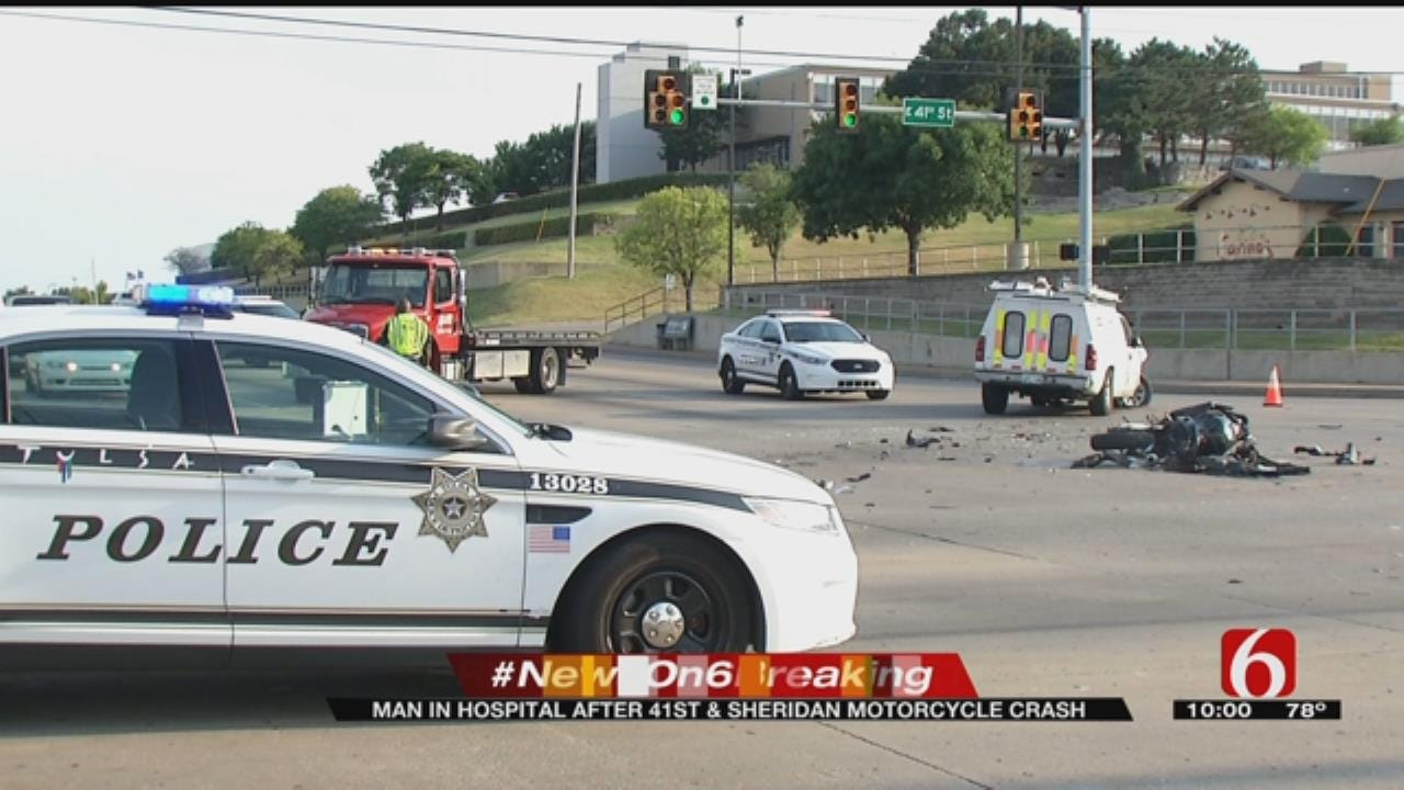 One Hospitalized After Motorcycle Crash In Midtown Tulsa