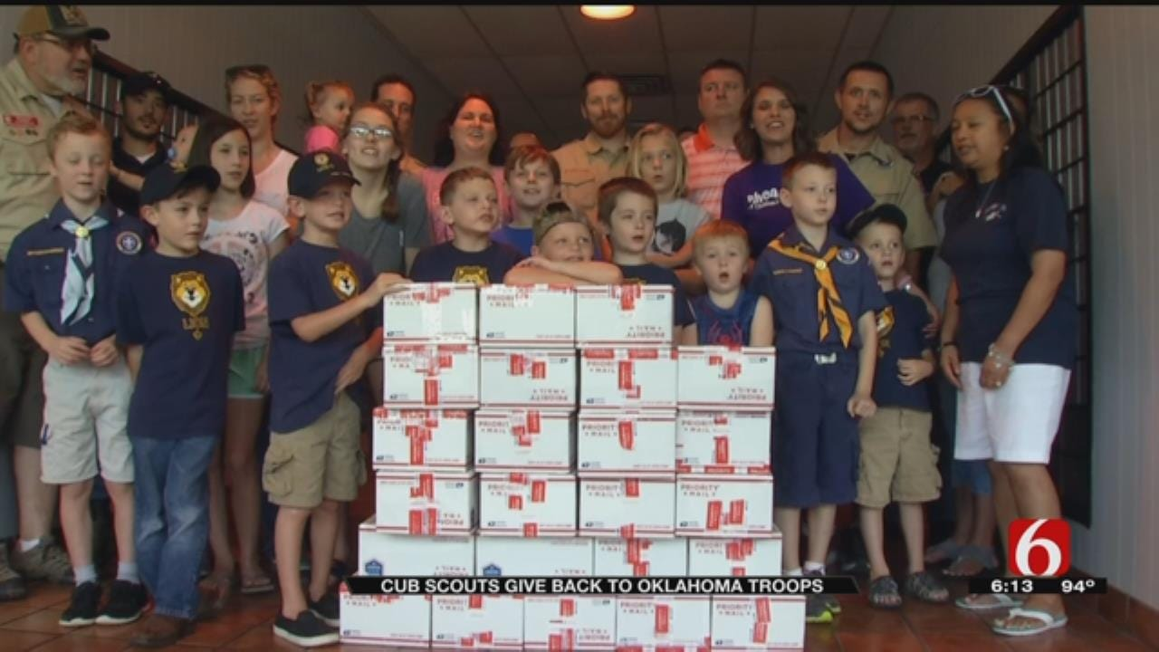 Local Cub Scout Pack Gives Back To Oklahoma Troops