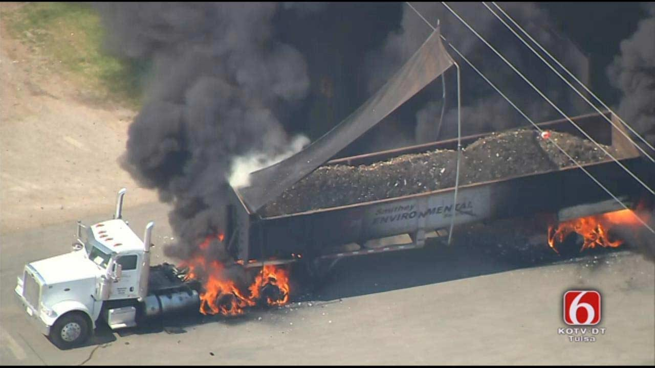 WEB EXTRA: Osage SkyNews 6 HD Over Truck Fire In Catoosa