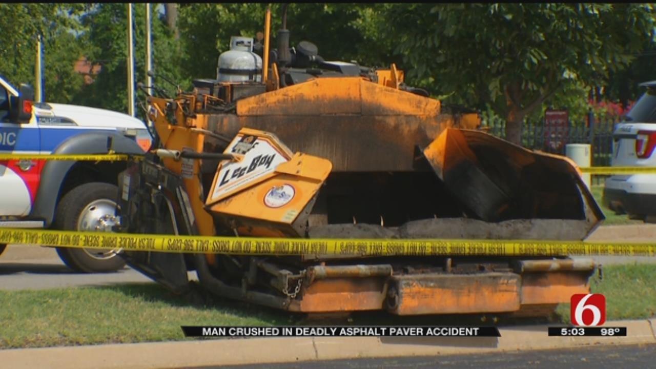 Asphalt Machine Falls On Worker Outside Tulsa Marriott Hotel
