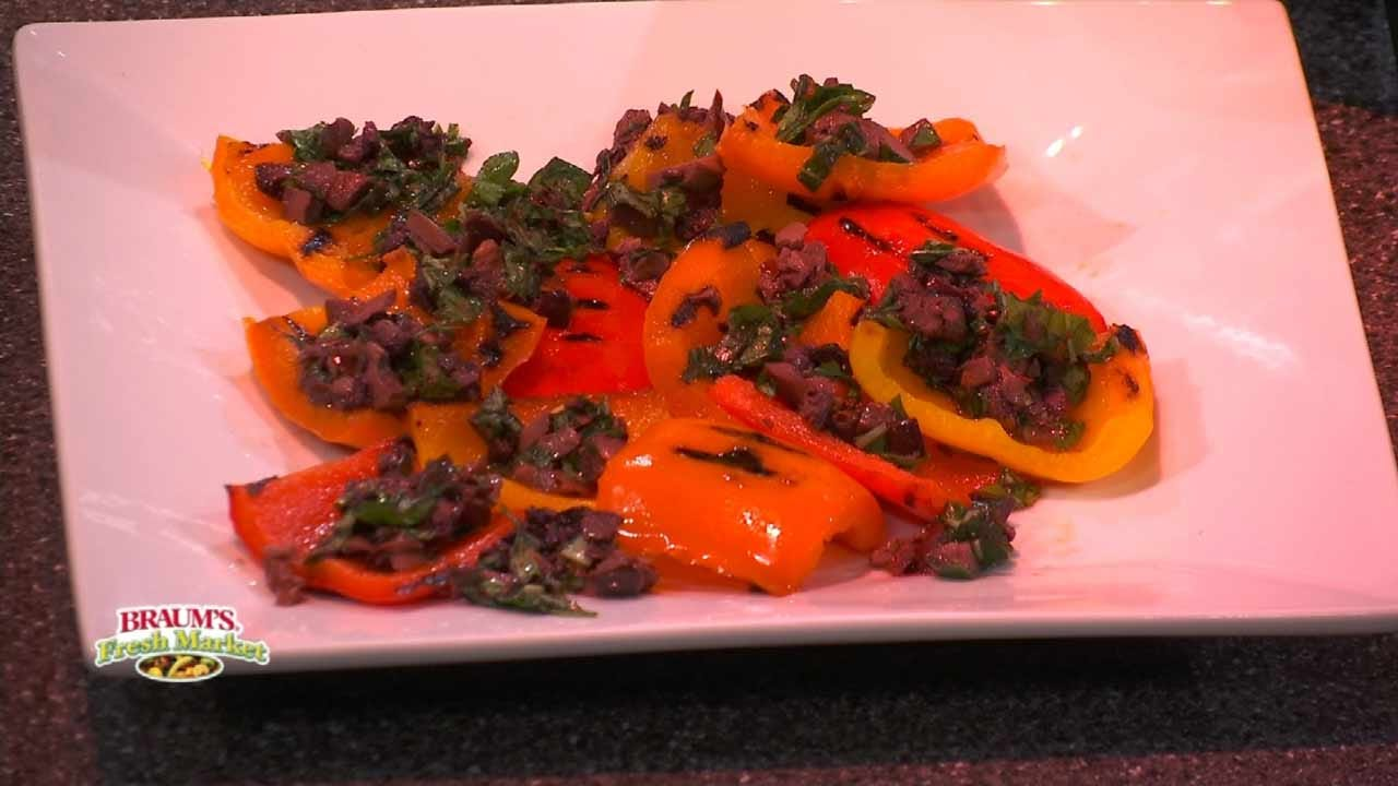 Grilled Bell Peppers With An Olive Vinaigrette