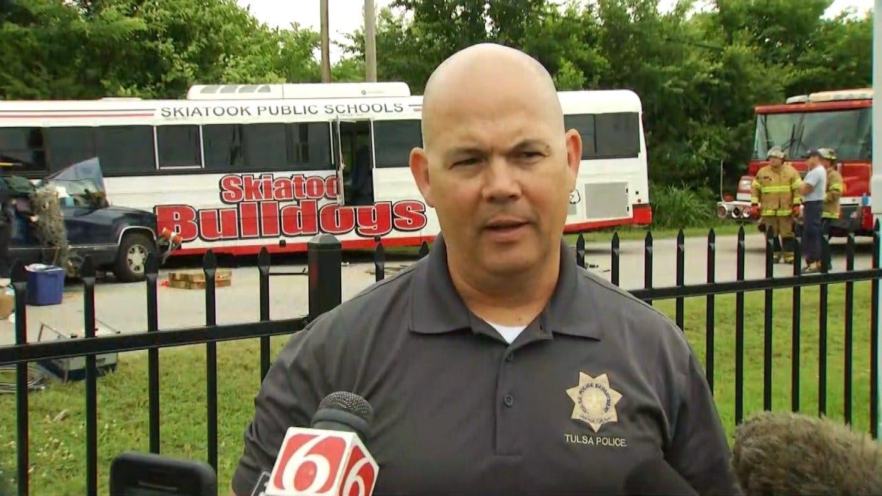 WEB EXTRA: Tulsa Police On Fatal Wreck Involving Skiatook School Bus