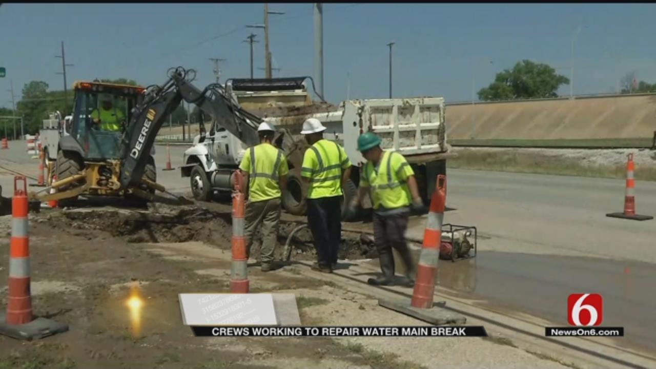 Water Line Breaks Under Tulsa Street Impacting Businesses