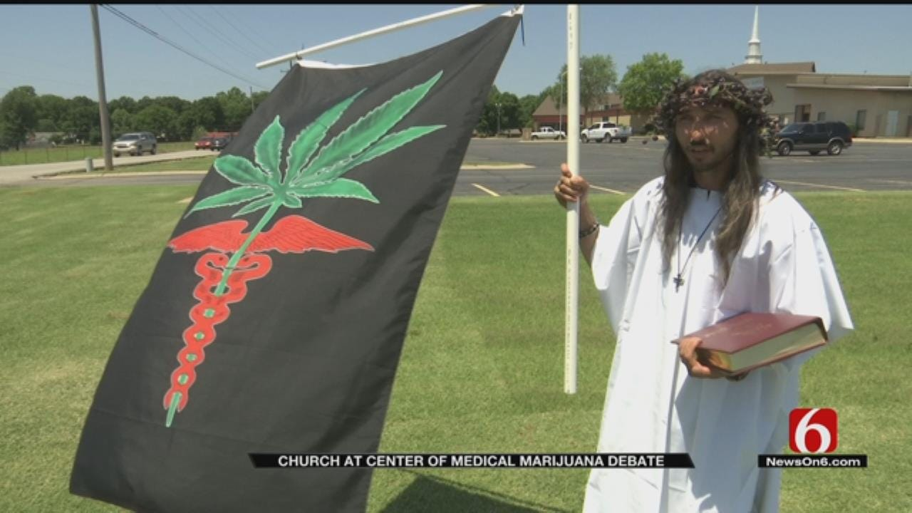 """The Hemp Father"" Protests Anti-Marijuana Sign At Grove Church"