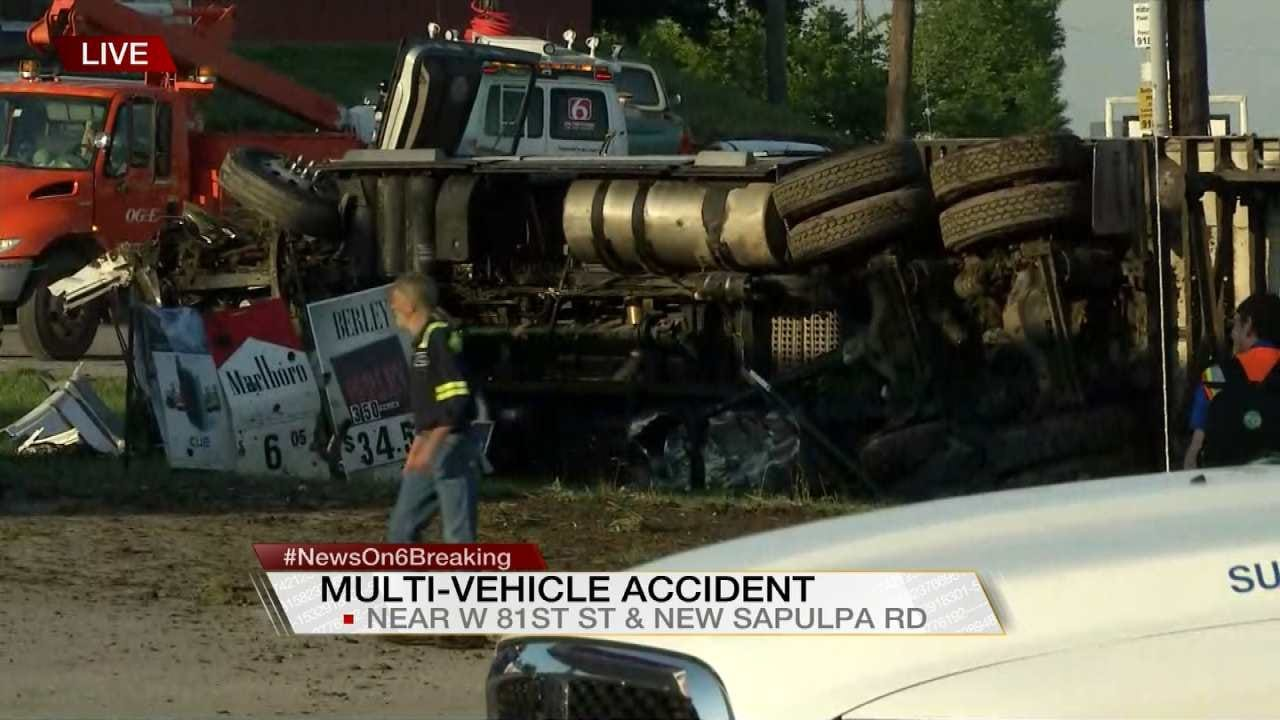 Three Hurt In Sapulpa Rollover Wreck