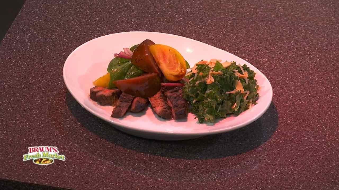 Steak With Lemony Kale And Tomato Salad