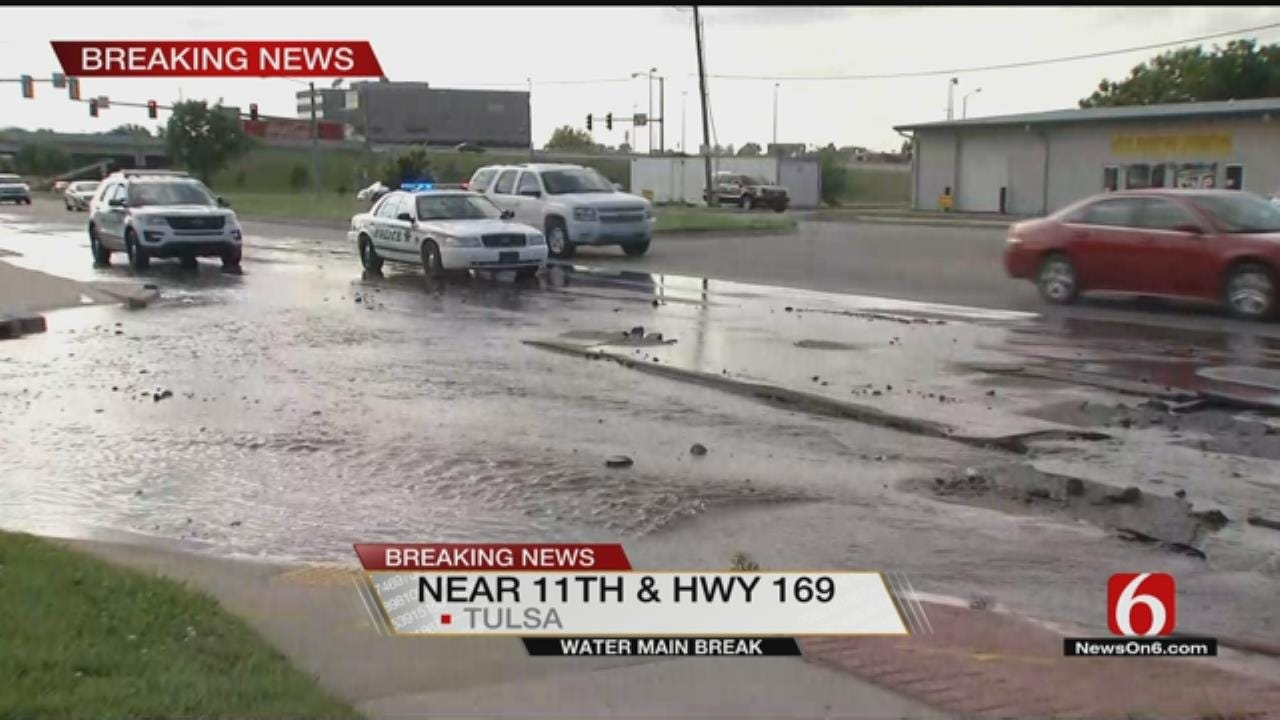 Water Line Break Causes Damage To Tulsa Street