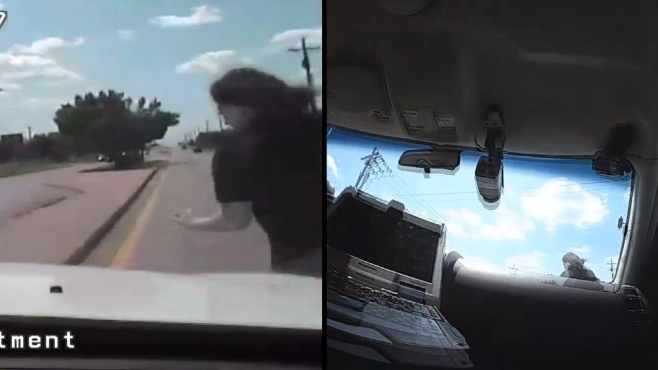 Dashcam Video: Stolen Truck Suspect Hit By Tulsa Police Vehicle