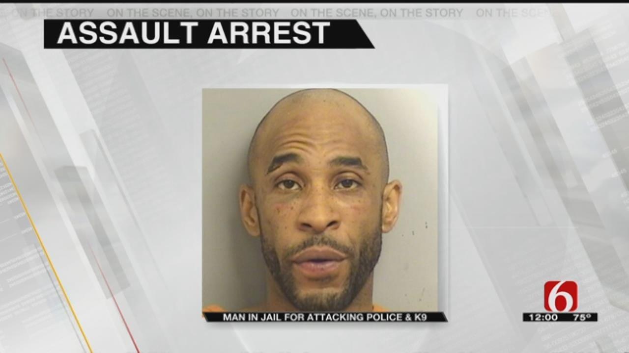 Man Kicks Officer, Chokes K9 Officer During Arrest, Tulsa Police Say
