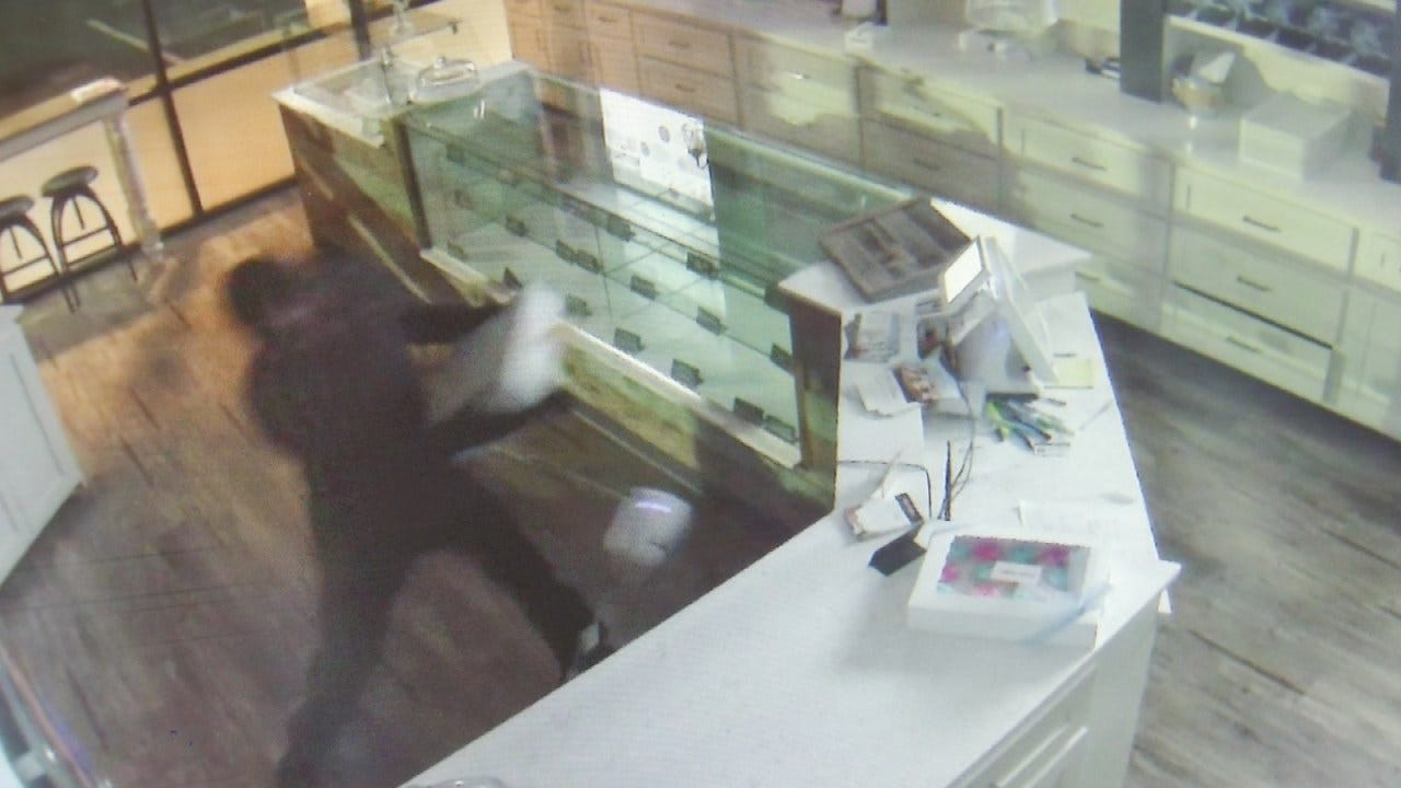 Surveillance Video Shows Man Breaking Into Tulsa Business
