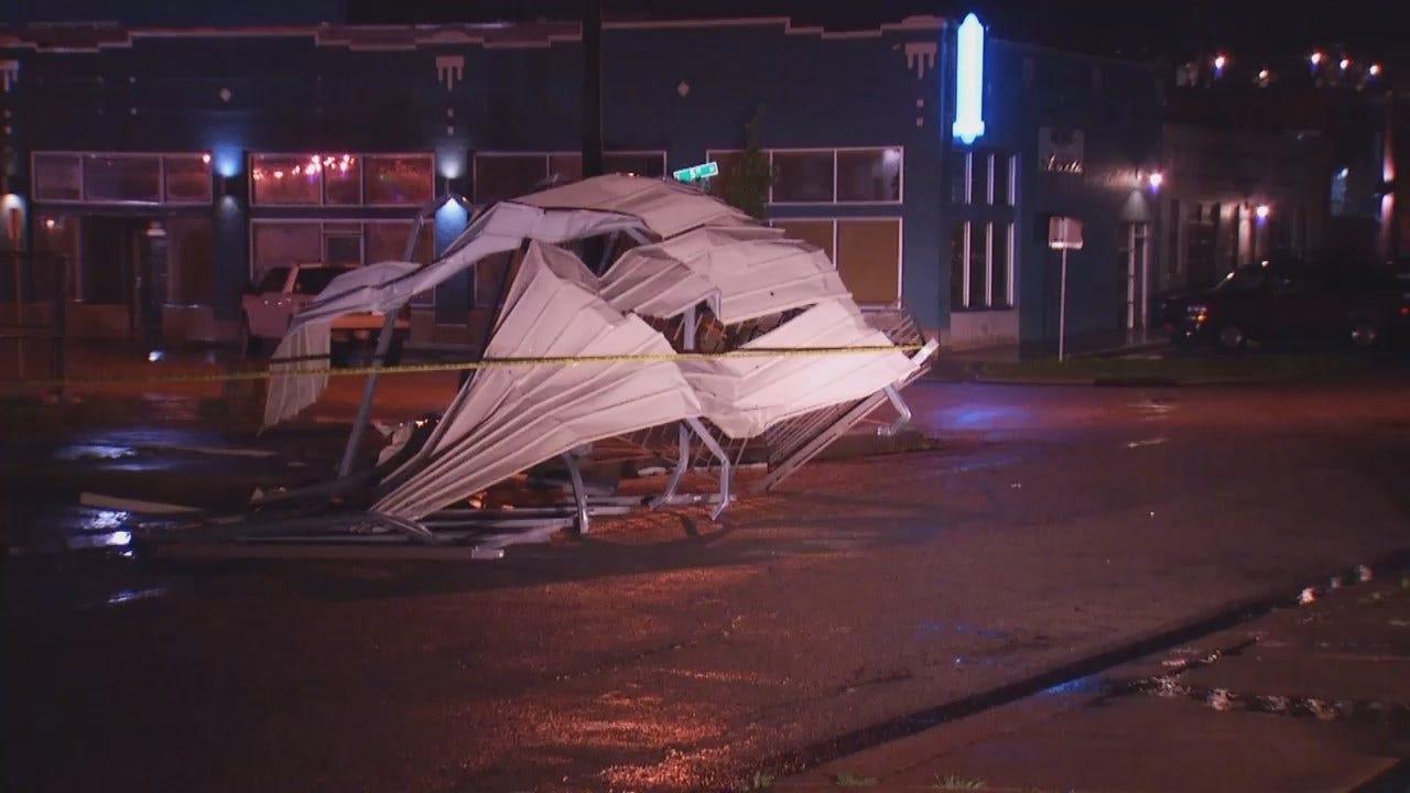 WEB EXTRA: Video Of Tulsa Business Canopy Damage