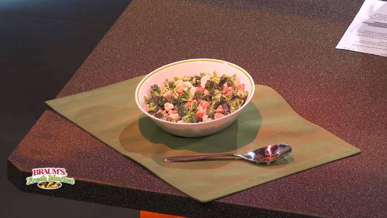 Broccoli, Carrot, Cauliflower Coleslaw Salad