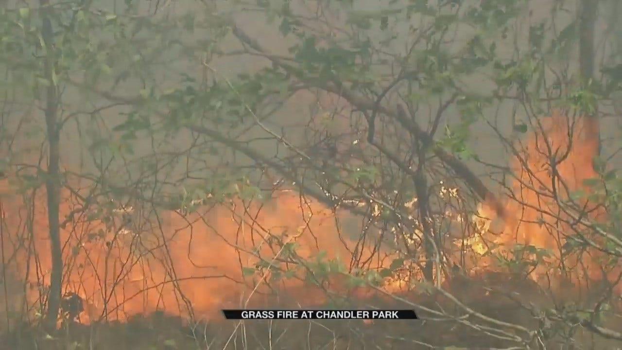 Berryhill, Sand Springs Crews Work To Contain Chandler Park Grass Fire