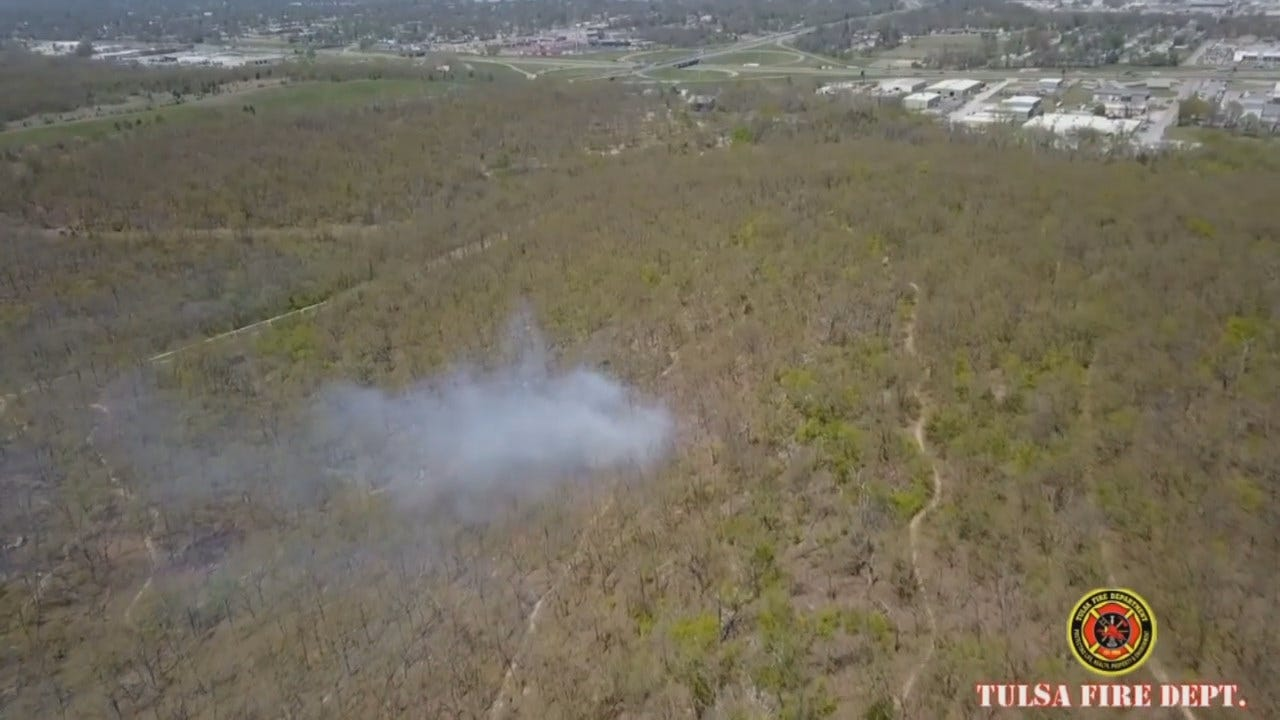 WEB EXTRA: Tulsa Fire Department Drone Video Of Turkey Mountain Fire