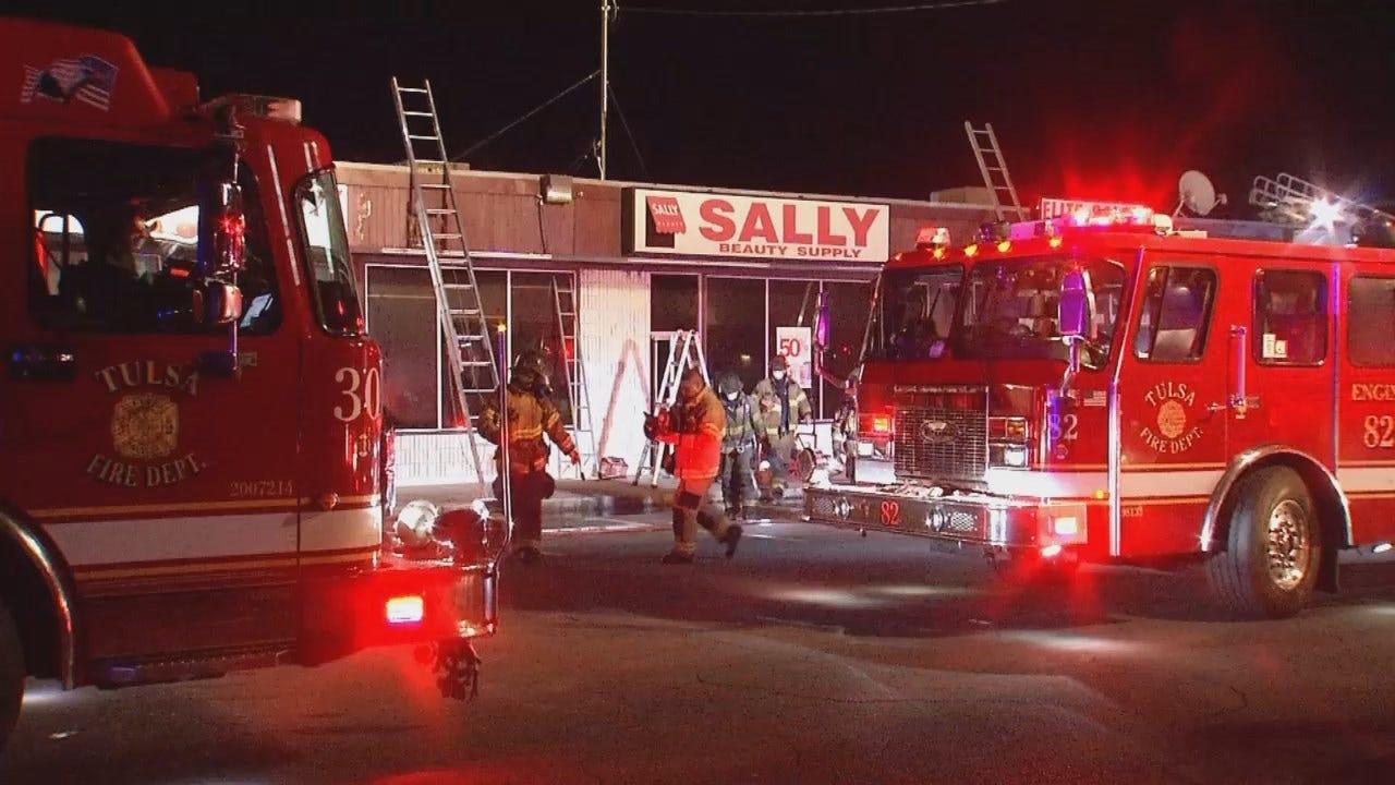 WEB EXTRA: Video From Scene Of East Tulsa Strip Mall Fire