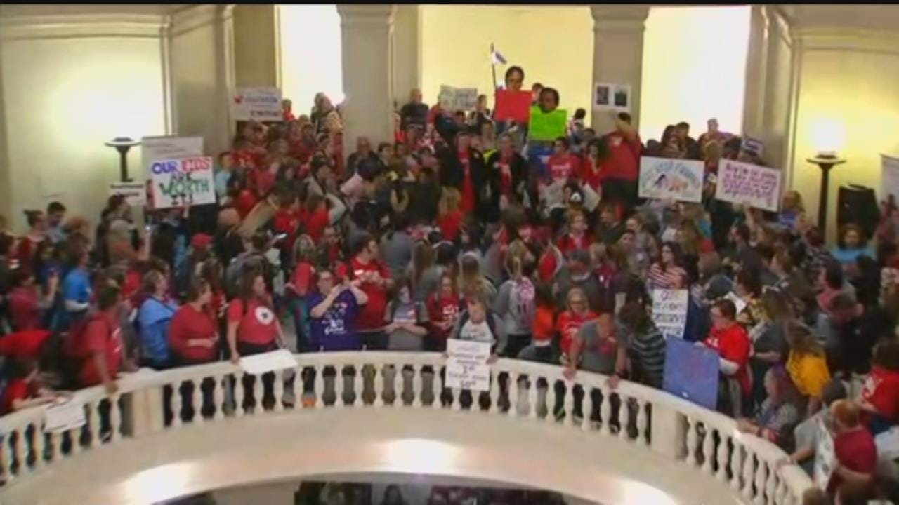 WATCH: Shouts From Oklahoma Educators Fill The Capitol Building