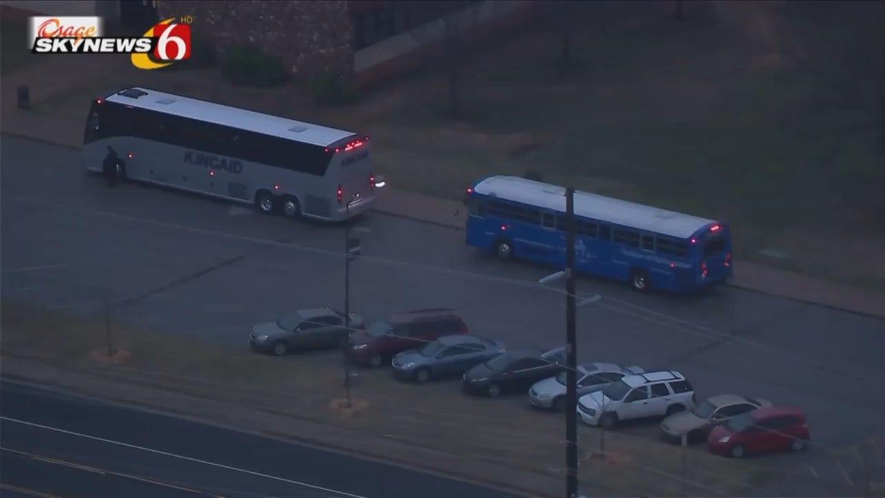 Osage SkyNews 6 HD Flies Over Tulsa Buses Departing To OKC