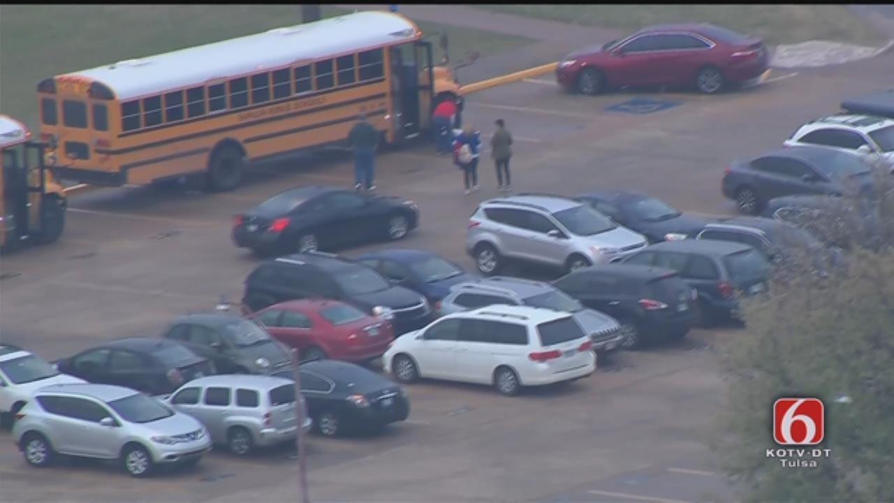 Osage SkyNews 6 HD Flies Over Sapulpa Schools On Day 2 Of Shutdown