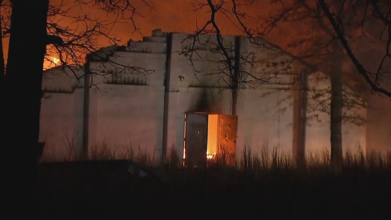 WEB EXTRA: Abandoned Sapulpa Church Destroyed In Fire