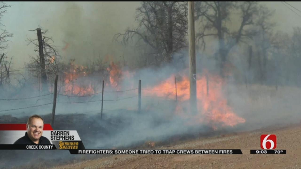 Firefighters Almost Trapped Fighting Creek County Grass Fire