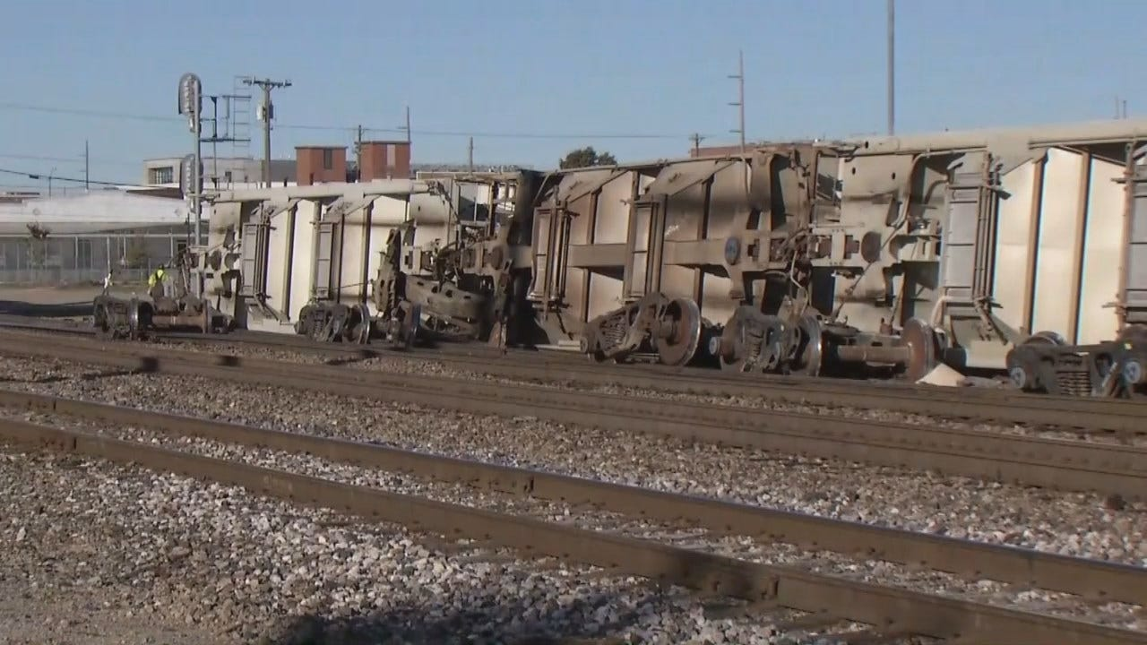 WEB EXTRA: Train Derailment In Downtown Tulsa