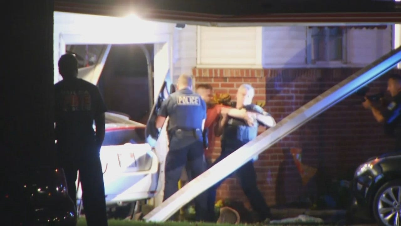 WEB EXTRA: Video From Scene Of Car Crash Into Tulsa Home