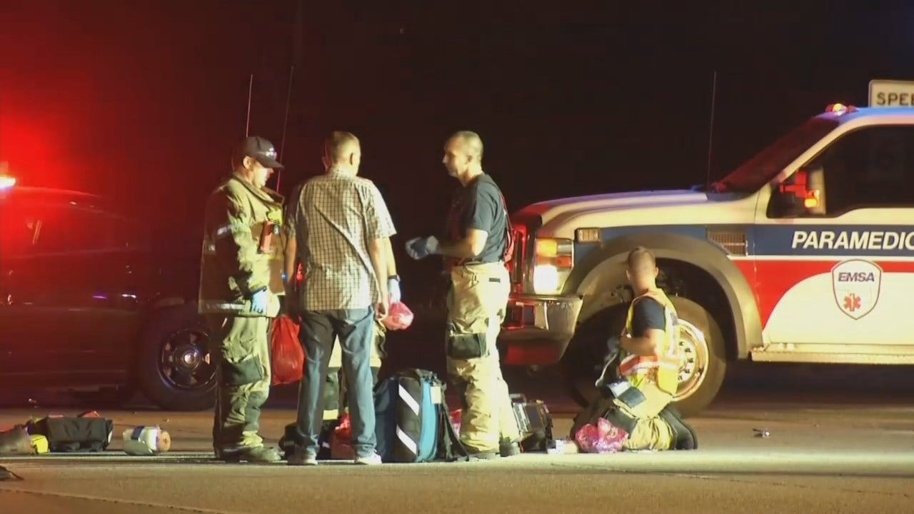 WEB EXTRA: Motorcycle, Car Collide On Highway 51 Near Sand Springs