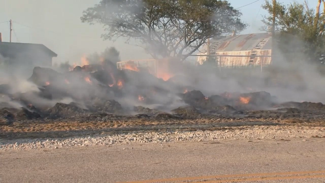 WEB EXTRA: Video From Scene Of Barnsdall Hay Bale Fire