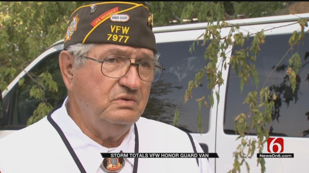 Weekend Storms Heavily Damage VFW Honor Guard Van Used For Funerals